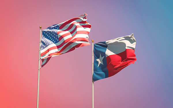Texas US State Flags at gradient background